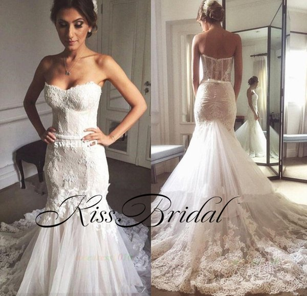Mermaid Lace Wedding Dresses Strapless Sleeveless Vintage Bridal Gowns Sweep Train Dubai Formal Wedding Gowns dress