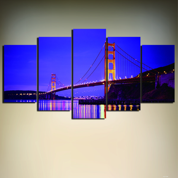 5 Pieces Golden Gate Bridge Art Painting San Francisco Picture Wall Art Canvas Painting Home Decor for Living Room
