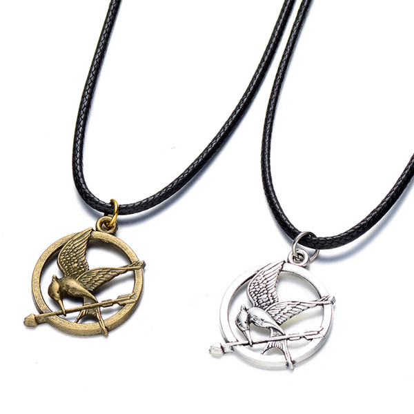 Black real leather cord choker hunger games necklace mockingjay black real leather cord choker hunger games necklace mockingjay pendant retro boho tibetan silver charms for mozeypictures Images
