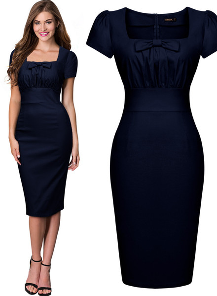 Free shipping Women's Vintage Retro Square Neck 1940's Fitted Pencil Bodycon Slim Work Party Dresses Cocktail Party dress 3210