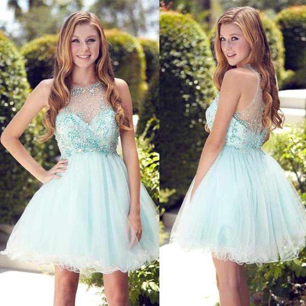 2016 Mint Cute 8th Junior Prom Dress Jewel Beaded Crystal Backless ...