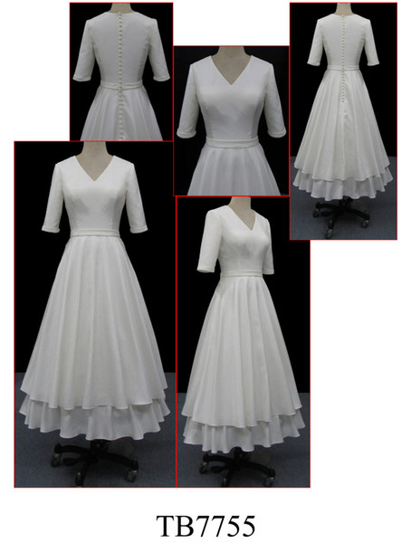 Half Sleeves Vintage Tea Length Short Modest Wedding Dresses Sleeved V Neck 1950s Bridal Gowns Country Western Custom Made Simple A-line