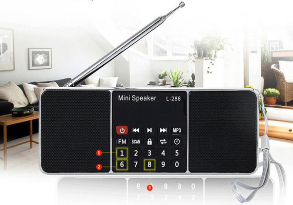 L-288 Mini Portable Rechargeable Stereo FM Radio Speaker LCD Screen Support TF Card USB Disk MP3 Music Player Loudspeaker