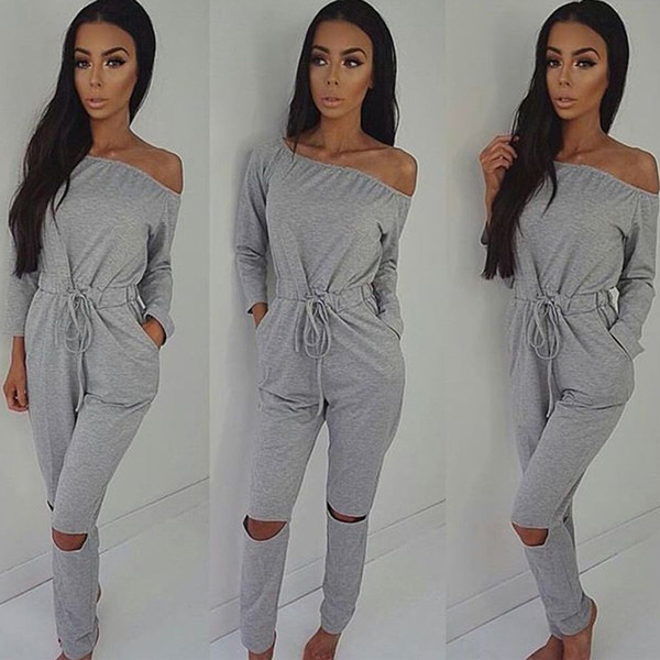top popular New Arrival Sexy Slash Neck Long Sleeve Hole Drawstring Rompers Womens Jumpsuits Fashion Skinny Bandage Slim One Piece Pants XXL 2019