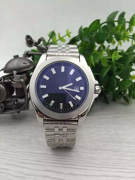 Brein Auto-Uhr Herren Silber Gehäuse Blau Große Zifferblatt Lederband Chronometer 1884 Uhr Montre Homme