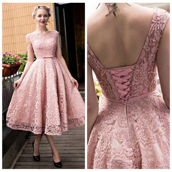 2018 Full Lace Tea Length A Line Evening Dresses Formal Prom Party ...