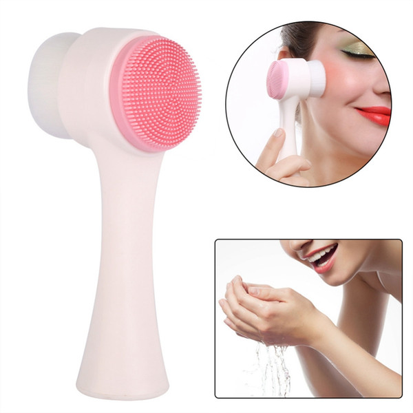 Multifunctional Silicone 3D Double Side Face Brush Face Washing Skin Cleaner machine Machine Exfoliator Facial Cleaning Brush Massager Tool