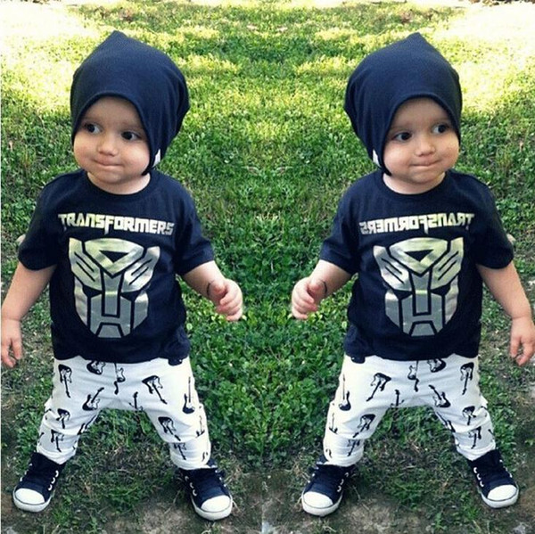 Summer Ins Infant Baby Set Boys Cartoon Transformers Black Tops T-shirt + Guitar Pants 2pcs Children Outfits 12092