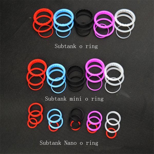 Nuevo Silicone O Ring Colorful Silicon Seal O-ring reemplazo Orings establecido para Kangertech Sub Tank Plus Mini Subtank Nano Clearomizer Atonizer