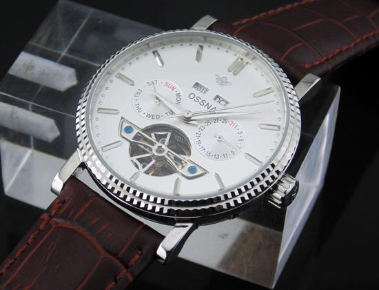1601 Ossna 40mm White Dial PVD Silve Stainless Steel Case Multifunction Auto Watch Gift For Men