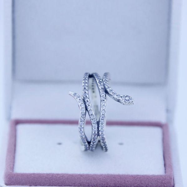 925 argent sterling bagues Serpent bague en argent avec zircone cubique Fit pour pandora charms bijoux femmes DIY mode Fingers Anneau 2016 plus récent