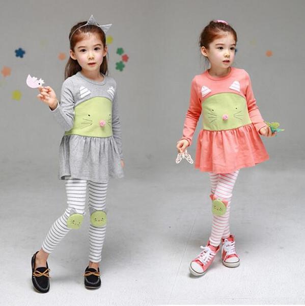 Spring Girl Children Clothing Set 2016 Cute Cat Top Dress Stripe Leggings 2pcs Children Girl Clothes Set Brand Kids Set For Girl