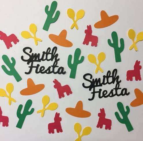 150pcs Custom name Fiesta or Cinco de Mayo Confetti wedding table scatters Christmas bridal shower bachelorette party decorations Event