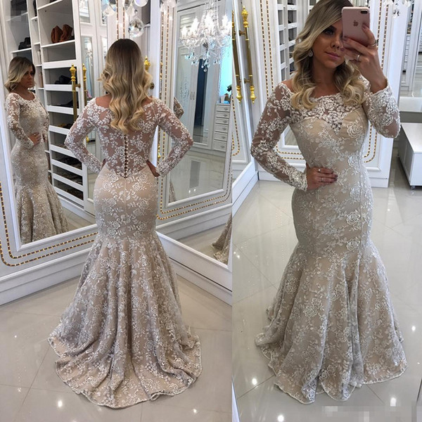 High Quality Stunning Lace Mermaid Prom Party Dresses 2017 Long Sleeves Appliques Plus Size Formal Evening Gowns For Special Occasion