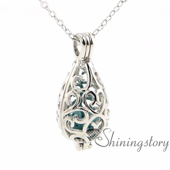 best selling teardrop openwork essential oil necklace diffuser necklace wholesale perfume necklace aromatherapy jewelry diffusers metal volcanic stone