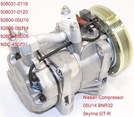 Qualität DCW17BE 4pk für Nissan Skyline GT-R BNR32 92600-05U14 Auto A / C Kompressor 506031-0119 506031-0120 92600-05U10