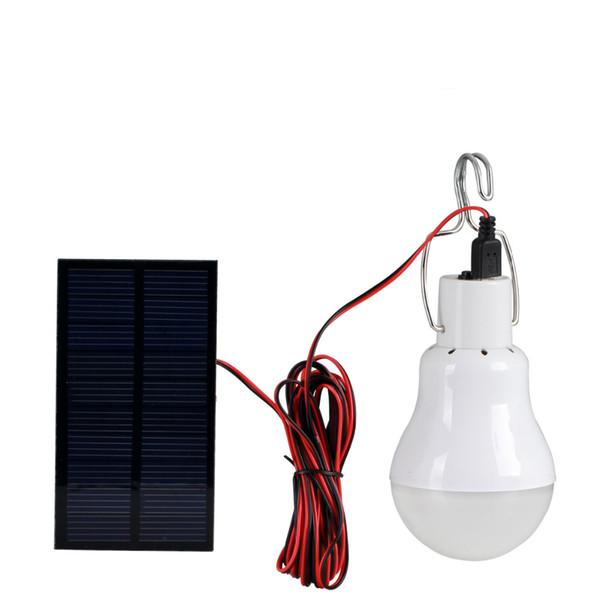 Wholesale-0.8W Solar Panel 2W LED Bulb LED Solar Lamp Solar Power LED Light Outdoor Solar Lamp Spotlight Garden Emergency Light