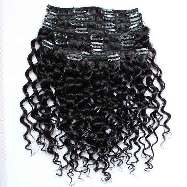 10A African American Clip in Human Hair Extension Brazilian Virgin Hair 9 pc Set Clip in Extensions Deep Curly Clip in Hair Extensions
