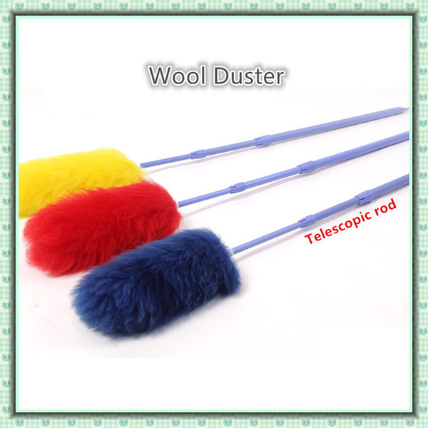 Pure Lampswool Dusters Telescopic Handle Dusters Household Cleaning Dusters Housekeeping cleaning tool feather dusters free shipping