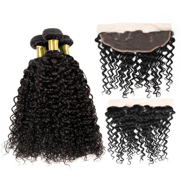 Malaysian Curly Hair Free Parting 13*4 Lace Frontal With Hair Weaves Unprocessed 3Pcs Human Hair With Frontal Malaysian Curly 4Pcs/Lot