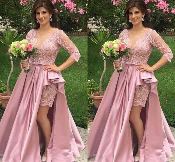 Plus Size Pink Prom Dresses With Half Sleeves Sexy Sheer Deep V Neck ...