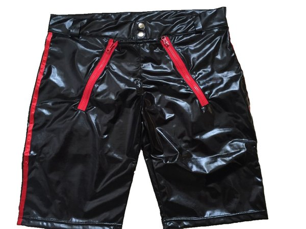 Wholesale-New Erotic Men's Leather Shorts Lingerie Sexy Boxers Black Faux Leather PU Shorts For Male Underwear Underpants
