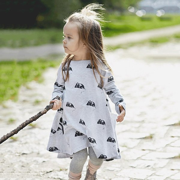 2018 Spring Gilrs Children Dresses Long Sleeve Pockets Mouse Pattern