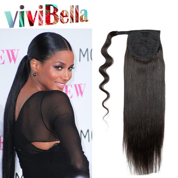 Wholesale-Indian Remy Ponytail Human Hair Extension 100g Natural Indian Hair Clip In Ponytails Wholesale Free Shipping