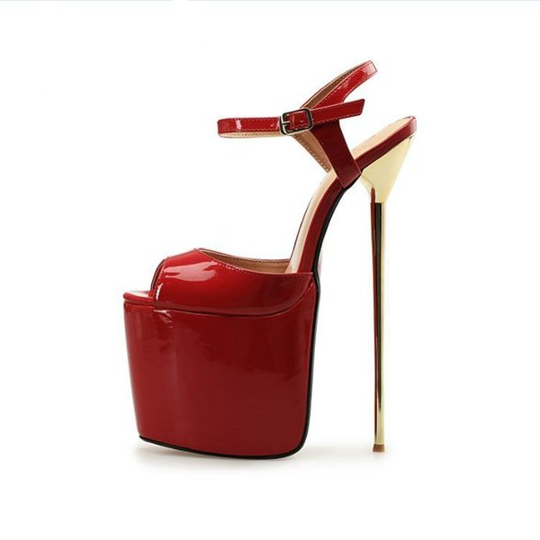 Plus Size 40-50 Women's Shoes 22cm Super High Heel Women Sandals Peep Toe Metal Stiletto Heels Sexy Women Sandals Reid Botton Wedding Shoes