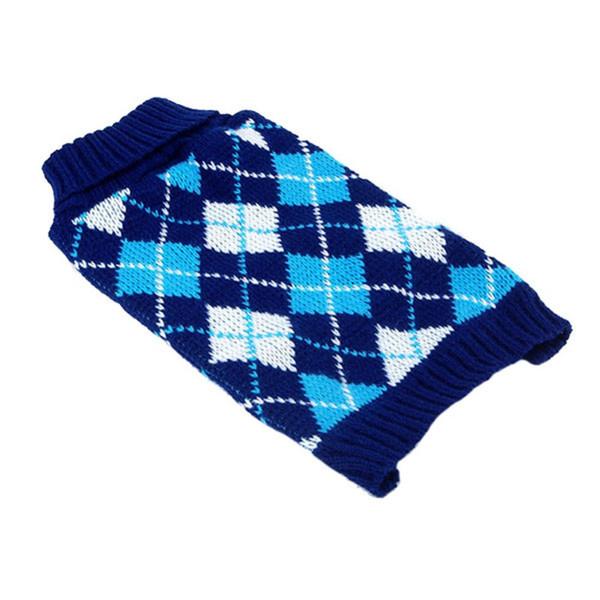 Wholesale-Pet Dog Cat Lattice Knitwear Coat Jacket Puppy Sweater Clothes XS-XL 2 Color