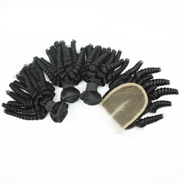 9A Aunty Funmi Hair Spiral Curls Weave With Closure 4Pcs Lot Brazilian Human Hair Bouncy Curly Hair Weft With Middle part Closure