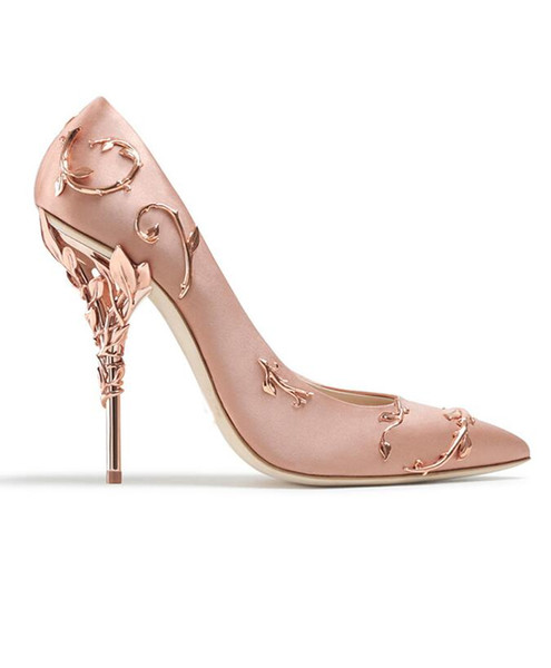 Ornate metal Filigree Leaf decor Women Pumps Multi-Colors elegent Women Shoes Stiletto high heel bridal Wedding Summer Shoes