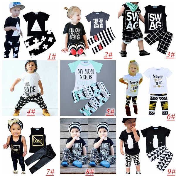 best selling Kids Ins Clothing Sets Baby Fashion Suits Girls Letter T-Shirt & Pants Infant Casual Outfits Boys Ins Tops & Harem Pants 9styles choose 1-5T