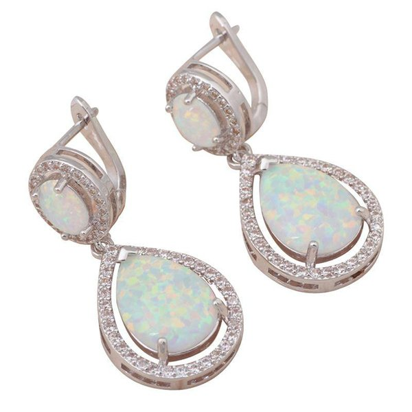 Delicate gifts for friends Wholesale & Retail White Fire Opal Silver Stamped Drop Earrings Fashion Jewelry OE279
