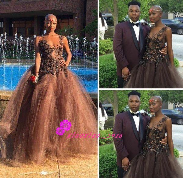 Sexy Black Girl Kill Dance 2016 Prom Dresses With Sheer Deep V Neck