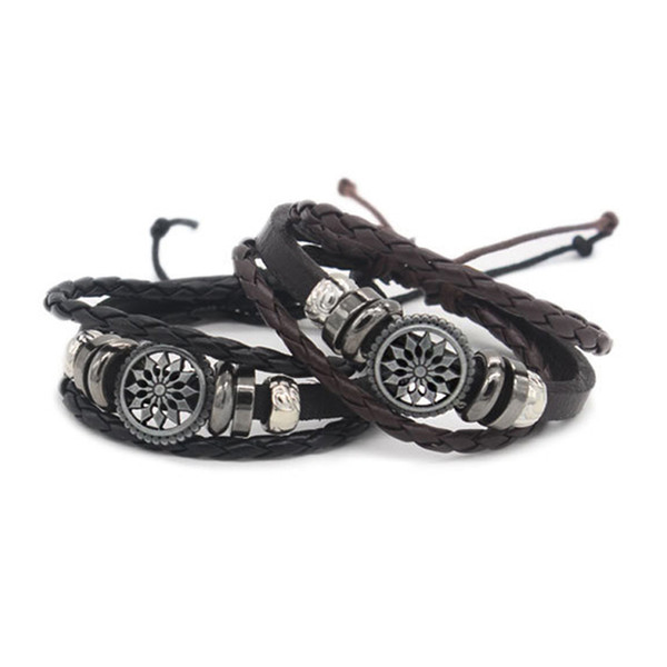 High Quality Leather Adjustable Wrist Bracelet Mens Personalised Bracelet for Christmas Present in Large Quantity WO10