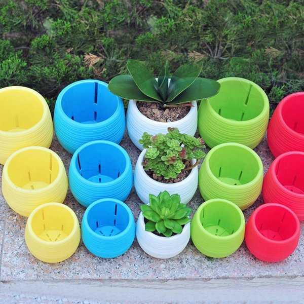 Wholesale Colourful Mini Round Plastic Plant Flower Pot Garden Home Office Decor Planter 7*7cm Adorable Afforest Aid Good Helper