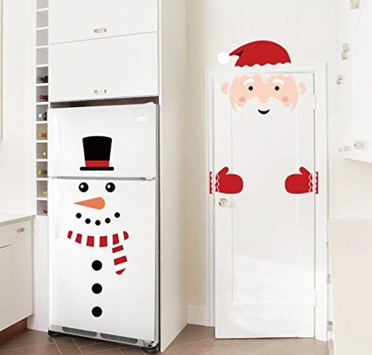 Christmas Decorations Snowman Santa Claus Door Wall Window Clings Stickers Decals Winter Wonderland Xmas Room Decor Ornament Christmas Ornament For