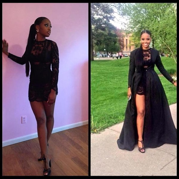 Sexy Two Piece See Through Black Lace Short Prom Dresses Long Sleeve Detachable Coat Floor Length Evening Pageant dresses BO8614