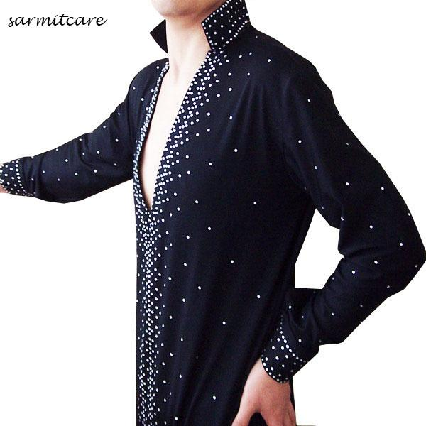 D100 - 5 Colors Male Rhinestones Sleeve Latin Dance Shirt for Men Samba Dance Costumes Tango Samba Costume Dance Clothes Latin Shirts