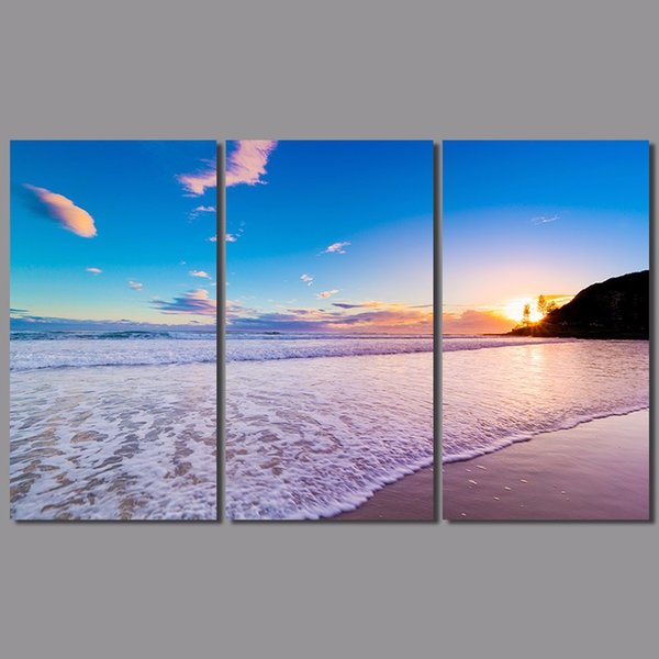 3pcs/set Pink sea sun decoration wave wall art pictures landscape purple wedding decor Canvas Painting living room unframed