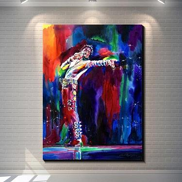 Framed Abstract Colorful Michael Jackson,High Quality Handpainted Modern Portrait POP Wall Art Oil Painting on Canvas Multi sizes Ab178