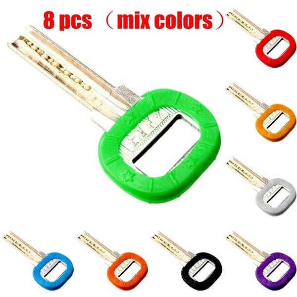 Al por mayor- 8pcs hueco de silicona flexible elástico de múltiples colores de goma suave clave tapa clave cubiertas caso portátil llavero s5