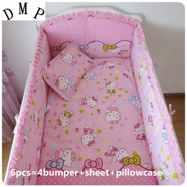 Promotion! 6PCS Bedclothes For Baby Cribs And Cots For New Born Bed Baby Boy Bedding Set ,include(4bumpers+sheet+pillowcase)