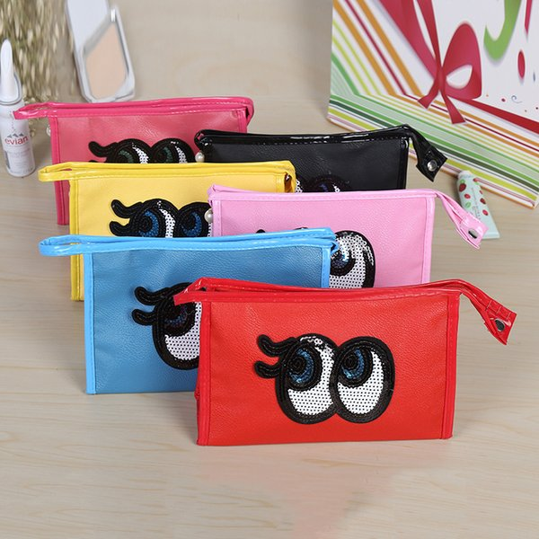 200pcs/lot Cheap price 2016 big eyes candy women storage bags PU square cosmetic bag waterproof fashion travel stuff sacks