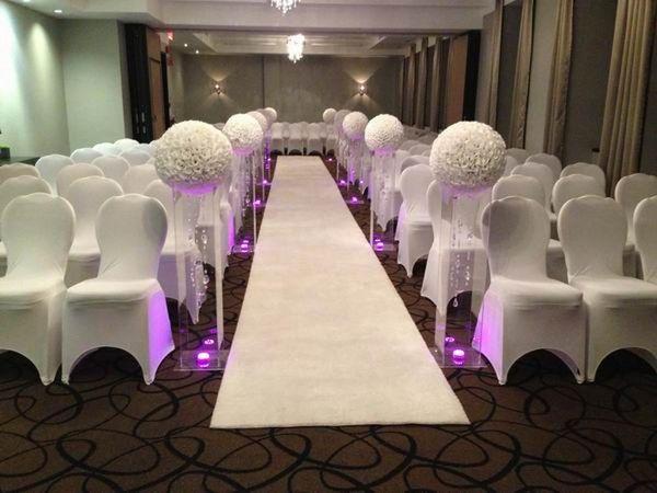 "16 "" 40 cm Big Size Milk White Fashion Artificial Encryption Rose Silk Flower Kissing Balls For Wedding Party Centerpieces Decorations"