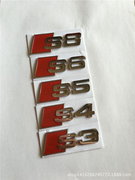 10 pezzi / lotto All'ingrosso 3D Metal Car emblemi distintivi del cromato adesivi S3 S4 S5 S6 S8 per Audi-styling