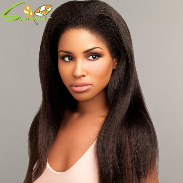 Virgin Brazilian Human Hair Yaki Straight Full Lace Wigs 130 Density Lace Front Human Hair Wig Glueless Lace Wig For Black Woman