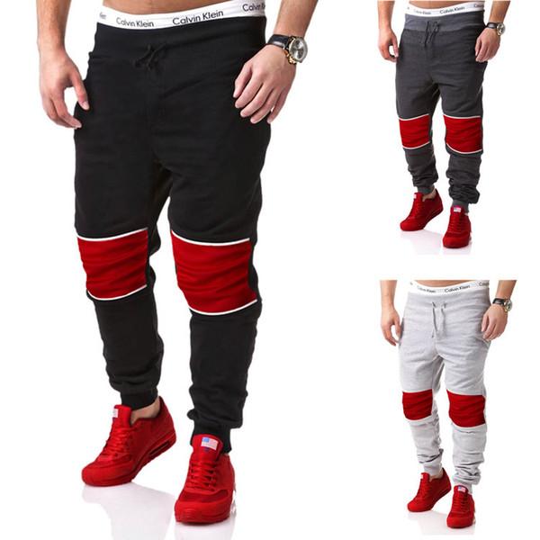 Vendita al dettaglio 1 pz / lotto Mens Fashion sport pantaloni lunghi 2016 pantaloni di marca uomini pantaloni patchwork casuali pantaloni sportivi hip-hop trousersi M-2XL