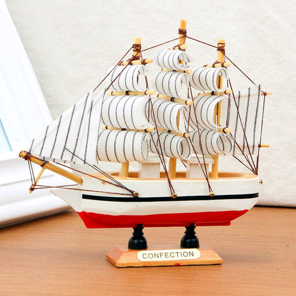 10PCS Handmade Wooden Ship Model Pirate Sailing Boats Toys For Children Home Decor not Removable